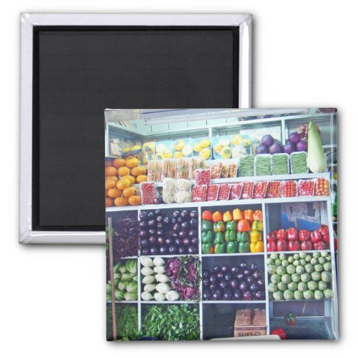 Mercado-Veggies 2 Inch Square Magnet