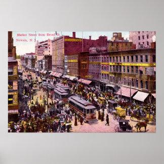 Mercado y St amplio 1909 de Newark New Jersey Poster