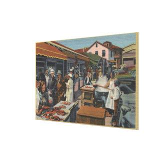 Mercados de pescados al aire libre en el muelle de impresiones de lienzo