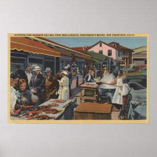 Mercados de pescados al aire libre en el muelle de poster