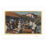 Mercados de pescados al aire libre en el muelle de postales