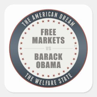 Mercados libres contra Obama Pegatina Cuadrada