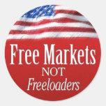 Mercados libres… No Freeloaders Etiquetas Redondas