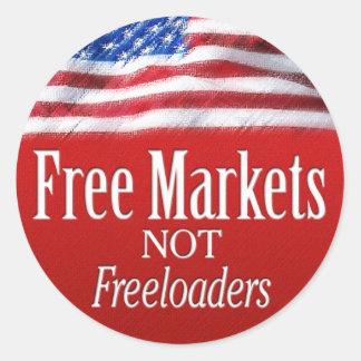 Mercados libres… No Freeloaders Pegatina Redonda