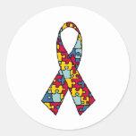 Mercancía de la cinta de la conciencia del autismo pegatina redonda