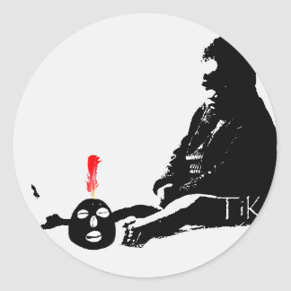 Mercancía de la impresión del arte de TiKo del Pegatina Redonda