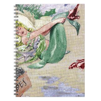 Mercancía de la sirena del vintage libro de apuntes con espiral