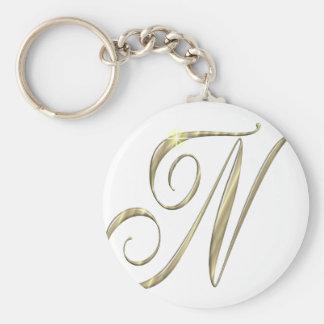 Mercancía de las iniciales del monograma N del oro Llavero Redondo Tipo Pin