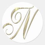 Mercancía de las iniciales del Ni del monograma Etiqueta Redonda