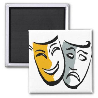 Mercancía de las máscaras del drama imán cuadrado