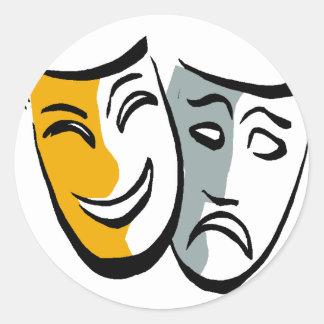 Mercancía de las máscaras del drama pegatina redonda