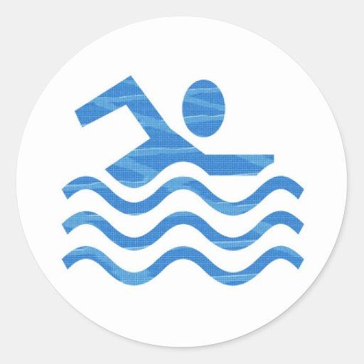 Mercancía de los clubs de la natación etiqueta redonda