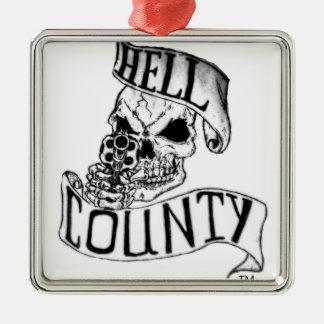Mercancía del condado del infierno adorno navideño cuadrado de metal