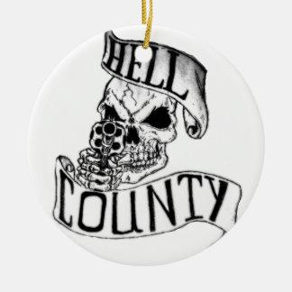 Mercancía del condado del infierno adorno navideño redondo de cerámica