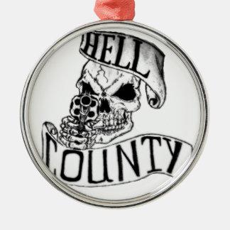 Mercancía del condado del infierno adorno navideño redondo de metal