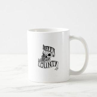 Mercancía del condado del infierno taza básica blanca
