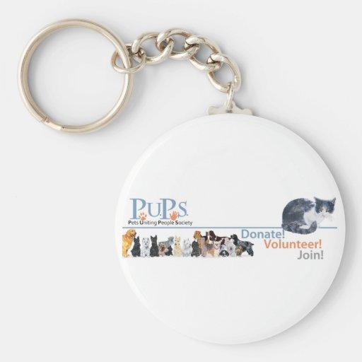 Mercancía del logotipo de los perritos con el gato llavero personalizado