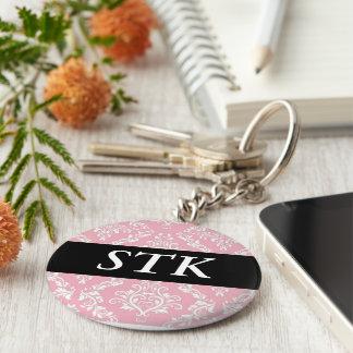 Mercancía rosada de las iniciales del monograma de llavero redondo tipo pin