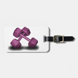 Mercancía rosada de las pesas de gimnasia etiqueta de equipaje