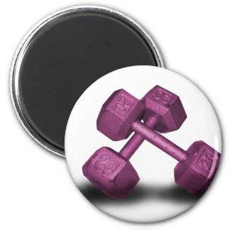 Mercancía rosada de las pesas de gimnasia imán de frigorifico