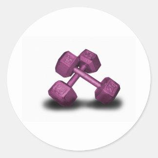 Mercancía rosada de las pesas de gimnasia etiquetas redondas
