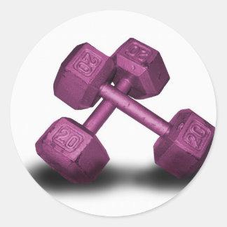 Mercancía rosada de las pesas de gimnasia etiqueta redonda