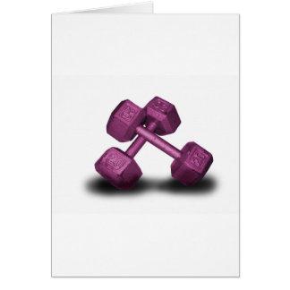 Mercancía rosada de las pesas de gimnasia felicitacion