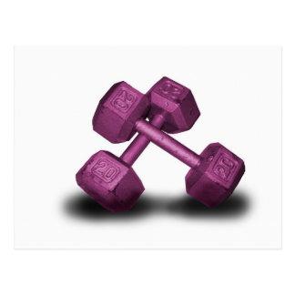 Mercancía rosada de las pesas de gimnasia tarjeta postal