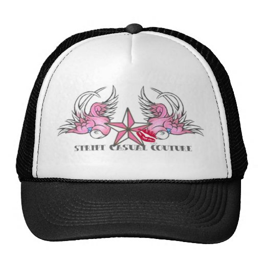 Mercancía rosada del pájaro del tatuaje gorras