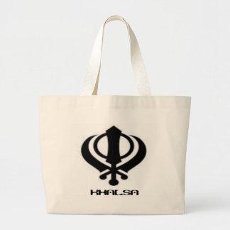 Mercancía sikh del diseño de Khanda Khalsa del Pun Bolsa De Tela Grande