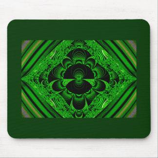 Mercancía temática del fractal verde vibrante herm alfombrilla de ratón