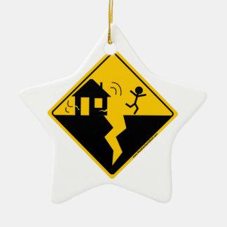 Mercancía y ropa de la advertencia del terremoto adorno navideño de cerámica en forma de estrella