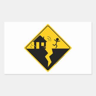 Mercancía y ropa de la advertencia del terremoto rectangular pegatinas