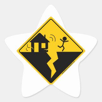 Mercancía y ropa de la advertencia del terremoto pegatina en forma de estrella