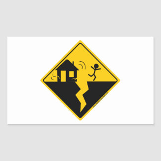 Mercancía y ropa de la advertencia del terremoto pegatina rectangular