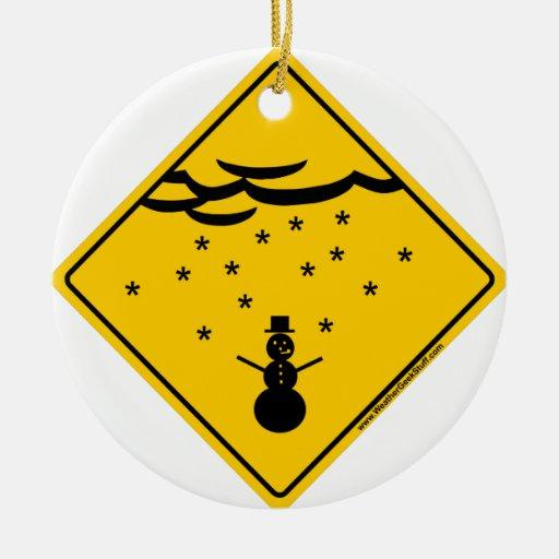 Mercancía y ropa de la advertencia del tiempo de adorno navideño redondo de cerámica