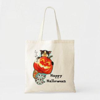 Mercat with pumpkin Halloween bag
