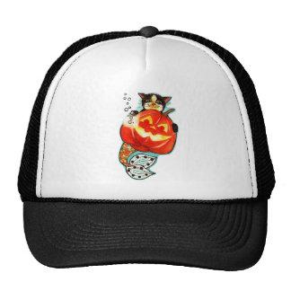Mercat with pumpkin trucker hat