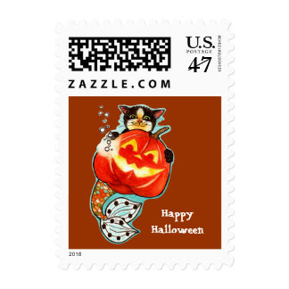 Mercat with pumpkin postage stamp