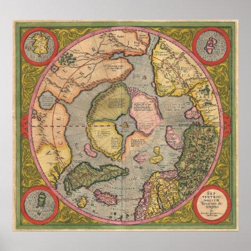 Mercator Polo Norte 1611 Póster