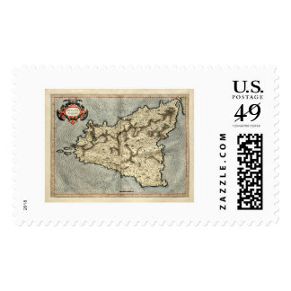 Mercator Sicily Early Map 1595 Postage