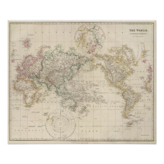 Mercators Projection of the world Poster