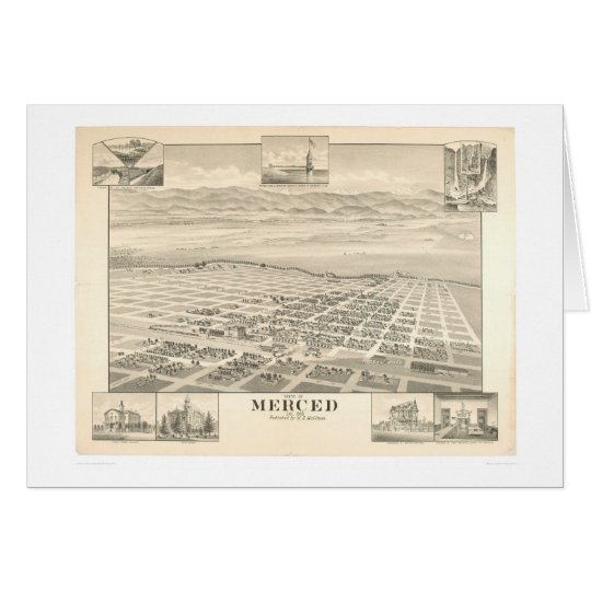 Merced, CA. Panoramic Map 1888 (1062A) Card