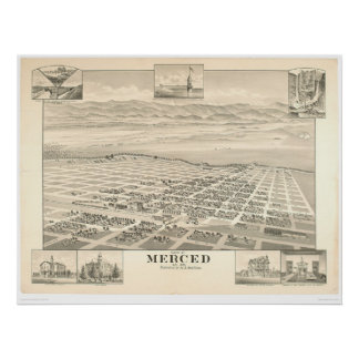 Merced, mapa panorámico 1888 (1062A) del CA Posters