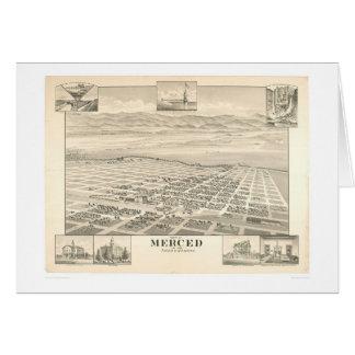 Merced, mapa panorámico 1888 (1062A) del CA Tarjeton
