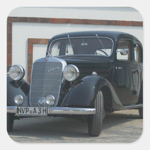 Mercedes antigua 3 pegatina cuadrada