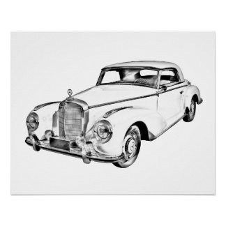 Mercedes Benz 300 Luxury Car Digital Drawing Poster