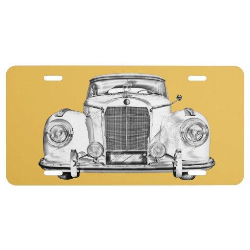 Mercedes benz 300 luxury car illustration license plate for Mercedes benz vanity license plates