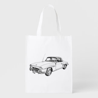 Mercedes Benz 300 sl Classic Car Illustration Grocery Bags