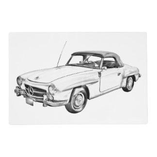 Mercedes Benz 300 sl Classic Car Illustration Placemat